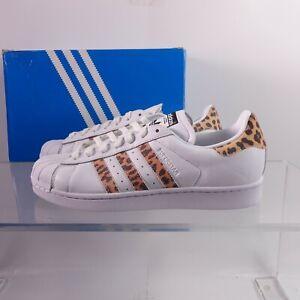 Size 10 Women's adidas Originals Superstar Sneakers CQ2514 White/Animal Print