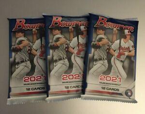 (3) 2021 BOWMAN MLB BASEBALL Unopened Retail PACKS (12 Cards Each) #ed Chrome?