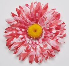 "4.5"" Pink & White Splash Gerbera Daisy Silk Artificial Flower Hair Clip Pinup"
