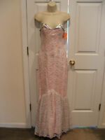 NWT  $196 pink/silver prom/pageant formal occasion strapless tango gown size 5/6