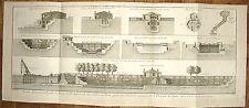 1769 engraving Bellin Marine Elevations Profils Rochefort Charente ship drydock