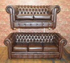Chesterfield leather three and two seater handmade in Lancashire