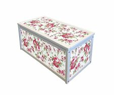 WHITE WOODEN STORAGE CHEST BOX / TOY BOX WITH FLORAL ROSALI STICKERS