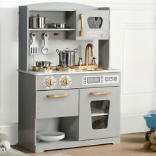 Kids Play Kitchen Wooden Pretend Play Toy Boys Girls Role Play Grey -HG19001G