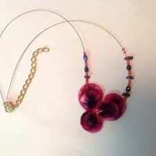 """Flower Necklace, Red Fabric Pansy Flower, Beads, 18"""" With 3"""" Extender Chain"""
