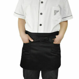 5PCS Wipe Clean Catering Apron Short Black Butcher Baking Chefs Cooking BBQ