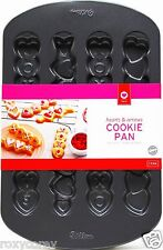 Valentine's Day Wilton Hearts Arrows Hugs Kisses Love Cookie Pan 8 Treats NWT