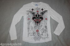 42666af4 Mens L/S Waffle Knit T-Shirt WHITE Black Red Graphic ANGELS CROSS Wings