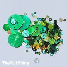 Mixed Flat, Cup and Shaped Sequins 100+ Loose Sparkling Greens Mix