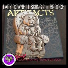 """""""Jj"""" Jonette Jewelry Silver Pewter 'Bear in Chair Pjs Coffee' Brooch Pin Usa"""