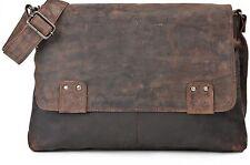 URBAN FOREST Unisex Leder Messengerbag Hellbraun Cognac 38x30x6cm (BxHxT)