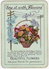 Playing Cards 1 Swap Card - Old Vintage Wide ROSE BOUQUET BASKET Florist FLOWERS