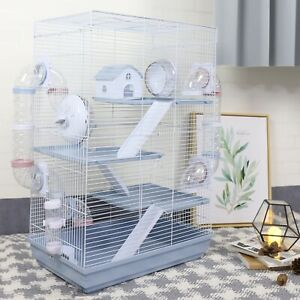 4 Level Hamster Cage Pet Mice Mouse Rat Cage Gerbil Play House Feeder 70x46x29cm