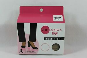 Style Essentials by L'eggs Knee High One Size Nude Sheer Toe 5 Pair