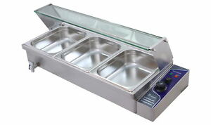 3X1/2' PANS STAINLESS  ELECTIC WET BAIN MARIE GLASS FRONT/TOP TRAYS+POLY COVER
