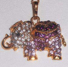 Multi Lavender Purple Rhinestone Gold Tone Elephant Pendant Necklace w/ chain
