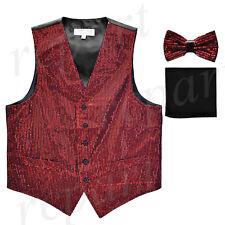 New formal Men Sequins Burgundy Tuxedo vest Waistcoat_bowtie & black hankie