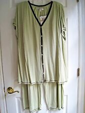 ELLEN TRACY COMPANY Women's Plus 3X Sleep Lounge Pajama Pants 2 pc set Sage NWT!