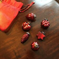 Small Red Glass Christmas Baubles x 6