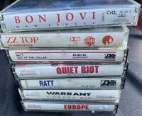 Cassette Tape Lot Of 7 1980s Rock RATT QUIET RIOT WARRANT BON JOVI EUROPE ZZ TOP