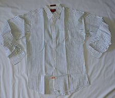 Nordstrom Mens Dress Shirt 16-36 Classic 100% cotton blue stripe long sleeve EUC