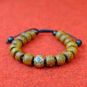 Fine Bodhi Bracelet Braun Gold Black Nepal Buddhism Natural 13mm Buddha s62