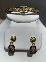 TOLEDO DAMASCENE BRACELET AND EARRINGS, Spanish, Stunning Vintage Set