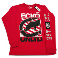 ECKO UNLTD. RHINO LOGO AUTHENTIC MEN'S RED LONG SLEEVE T-SHIRT SIZE M L