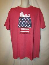 mens peanuts snoppy t-shirt L nwot stars & stripes doghouse red