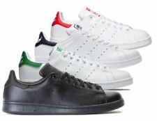 Adidas Mens Stan Smith Leather Trainers White (Navy/Green/Orange) and Black