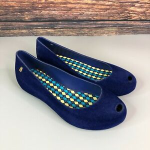 MELISSA Womens Blue Slip On Rubber Dolly Flats Ballet Shoes Size 37 UK 4