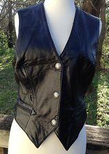 "North Beach Leather Vest Black Western Boho Michael Hoban Vtg 80s Sz 7/8 34-36""B"