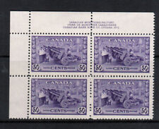 Canada #261 Very Fine Never Hinged Plate #1 UL Block - Lightly Hinged In Selvage