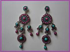 BOUCLES D'OREILLES argentées avec perles violettes/bleues C&C bijou fantaisie