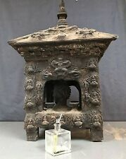 ANTIQUE/VINTAGE INDIAN. VERY LARGE, SACRED BUDDHA HEAD SHRINE / ALTAR. KATHMANDU