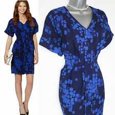 J by Jasper Conran Designer Blue Squares Print With Front Pleating Dress UK10 38