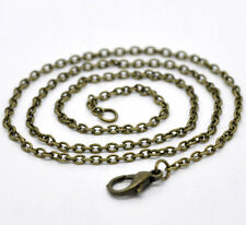 12 Bronze Tone HOTSELL Lobster Clasp Chain Necklaces 2x3mm 18""