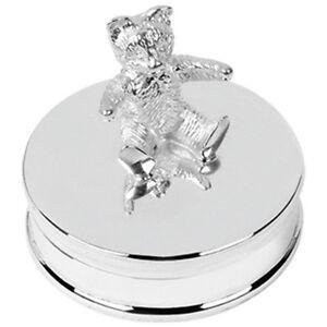 Christening Gift Hallmarked Sterling Silver Teddy Bear Keepsake Box