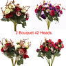 2 Bouquet 42 Heads Artifical Rose Silk Flower Bouquet Home Wedding Decor H