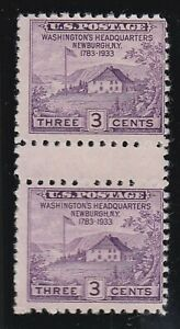 USA 1935 MNG GUTTER PAIR FORT DEARBORN