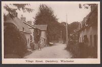Postcard Owslebury nr Winchester Hampshire the Village Street early RP by Baker