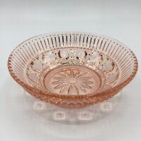 """Vtg Windsor Pink Depression Cut Glass Candy Dish Trinket Bowl Sunburst 5 5/8"""""""