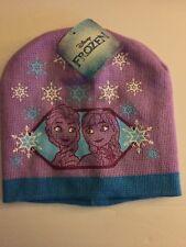 Girls Purple Elsa And Anna Frozen Winter Hat