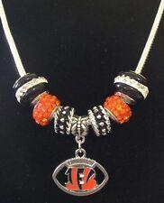 Cincinnati Bengals Necklace Euro Bead NFL Football Charm Sport Jewelry US SELLER