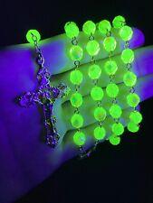 Iridescent Vaseline Uranium Glass Rosary w/ Gold Plated Crucifix