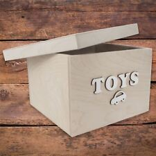 Small Square Storage Box With Removable Lid / 24x24x16 cm / 'TOYS' Bolt Letters