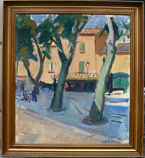 Hilkier. Village Café. Southern France. 1920s. Superb early modernist oil.