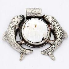 Fish Pendant Conch Shell White Metal Tibetan Nepalese Handmade Nepal PDS691A