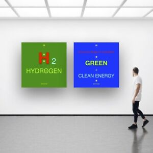 2 posters Art Deco CLEAN ENERGY H2 HYDROGEN GREEN MOBILITY ECONOMY ECOLOGY T1