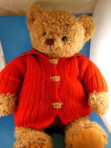 "Hallmark Mary Teddy Bear Plush In Red Sweater 18"" Large Shaggy fur pile fabric"